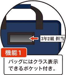 機能1 バッグにはクラス表示できるポケット付き
